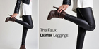 Black faux leather fashion leggings